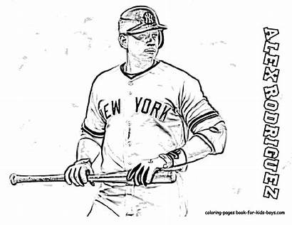 Baseball Pages Coloring Ruth Alex Rodriguez Babe