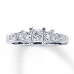 kays jewelry wedding rings three ring 1 ct tw princess cut 14k white gold