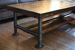 Industrial Knotty Pine Coffee Table with Steel Pipe Legs