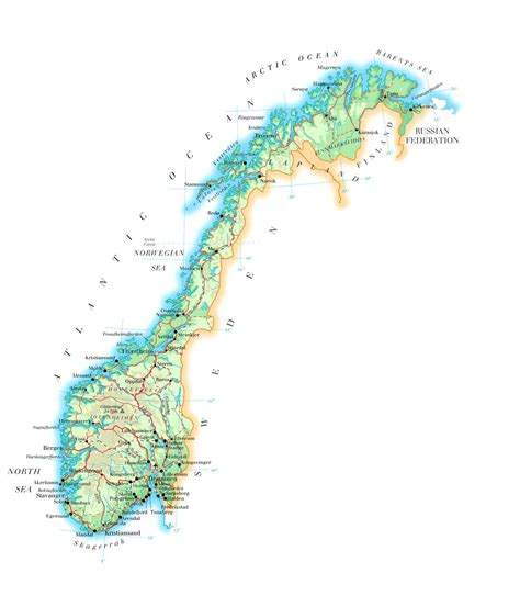 large detailed physical map  norway  roads cities