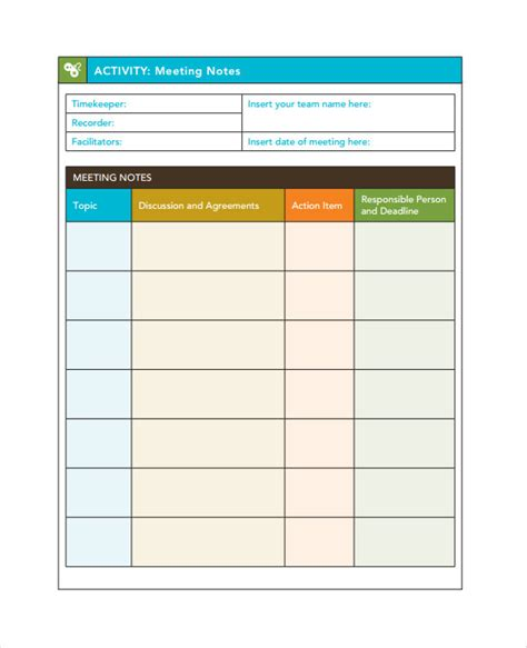 meeting notes template waneworg
