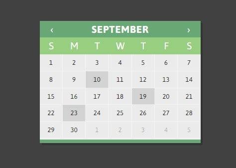 Datepicker Html Template by Jquery Calendar Plugin Using Html Templates Clndr Js