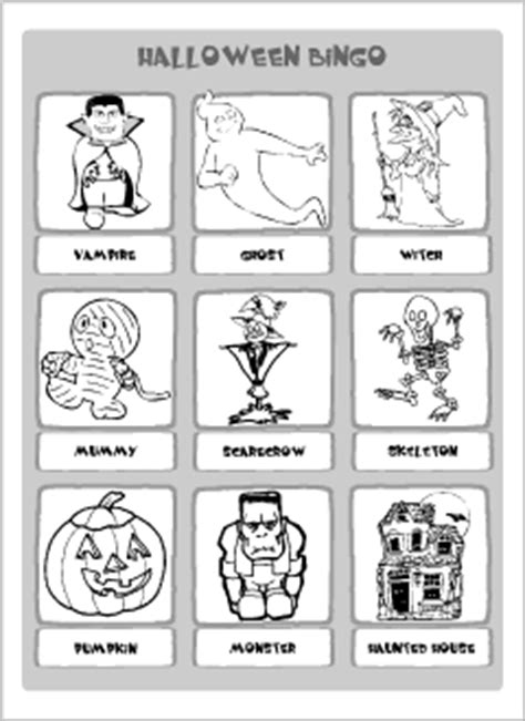 Halloween Vocabulary For Kids Learning English  Printable Resources