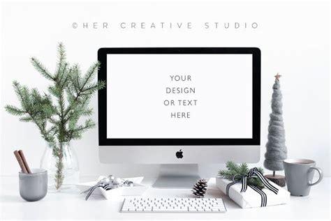computer holiday mockup grey business cards creative