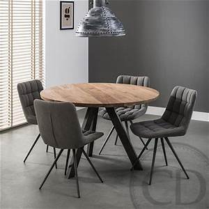 table de cuisine ronde industrielle pieds metal sur cdc design With meuble d entree avec banc 15 bibliothaque design glass sur cdc design