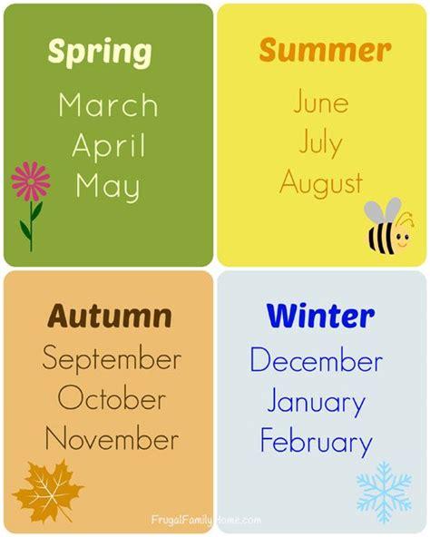 teaching  seasons  months  printable