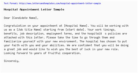 hospital appointment letter sample