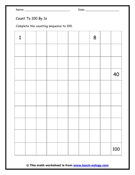 count to 100 worksheet math worksheets counting backwards 100 counting by 5 s