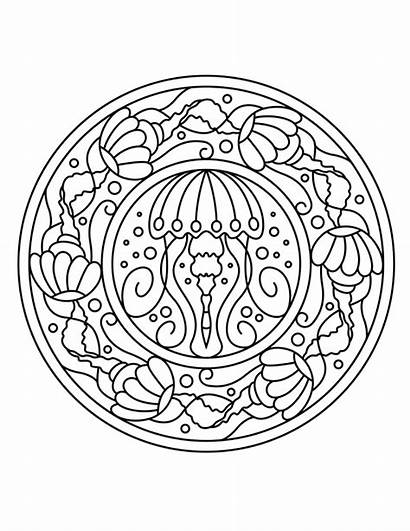 Coloring Pages Adult Ocean Jellyfish Cottage Mandala