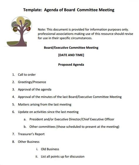 board meeting agenda templates  printable word excel