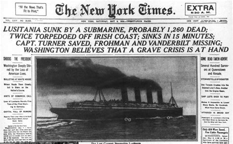 Why Did Germany Sink The Lusitania by Headline About The Lusitania Wwi New York