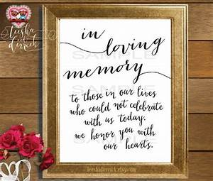 Instant download Printable In Loving Memory, Wedding ...