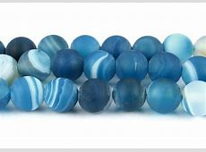 Natürliche Streifen Achat Perlen Kugel Matte Blau 6mm