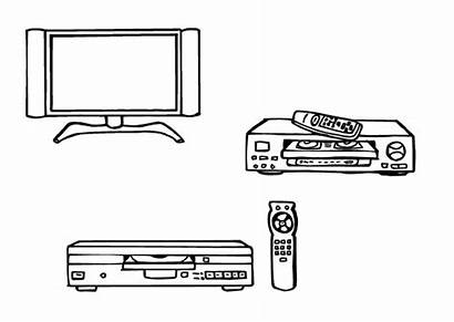 Television Coloring Dvd Vcr Player Tv Dessin