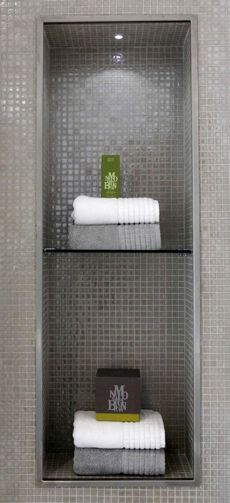 Small Glass Shelf Bathroom by Mosaic Alcove With Glass Shelf Small Led Downlight
