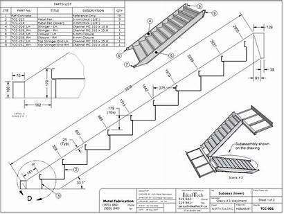 Stair Drawing Stringer Dimensions Stairs Tangga Scala
