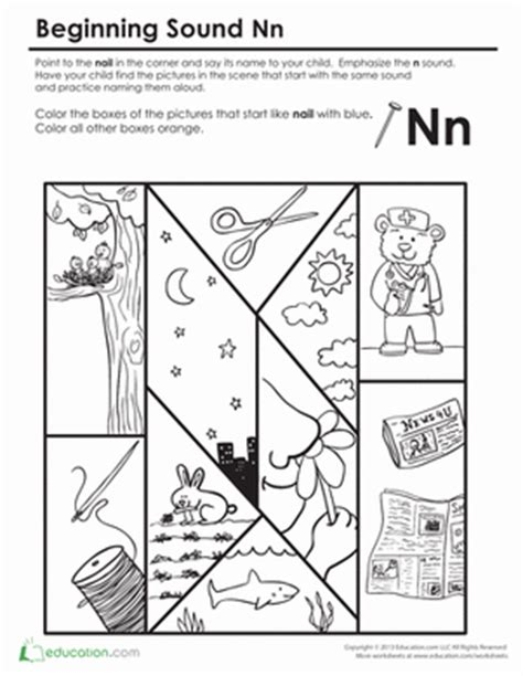 beginning sounds coloring sounds like nail preschool