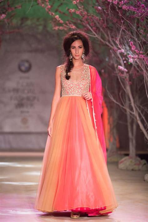 pink  orange indian wedding bridal dress  jyotsna
