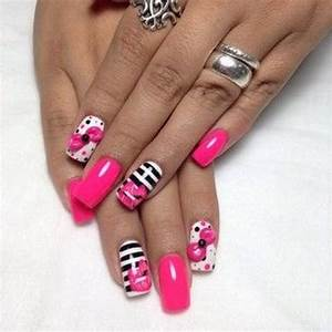 Wedding Nail Designs - Black, White, Pink Nail Design ...
