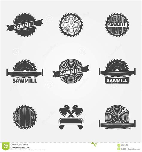 sawmill logo  label stock vector image