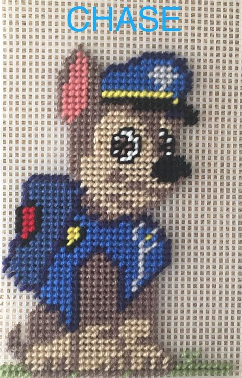 paw patrol chase  marcelle powell plastic canvas