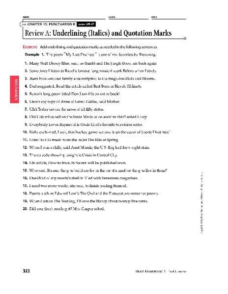 worksheet on underlining and quotation marks kidz activities