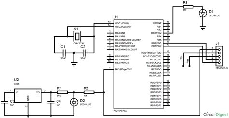 Led Interfacing With Pic Microcontroller Circuit Diagram