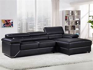 canape d39angle cuir reconstitue pvc quotlondonquot 4 places With canapé cuir noir 4 places