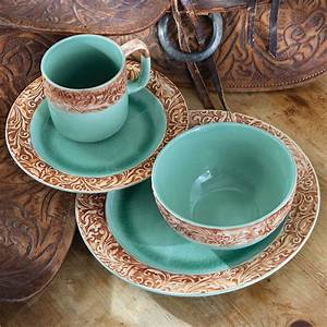 Western Scroll Turquoise Dinnerware Set - 16 pcs