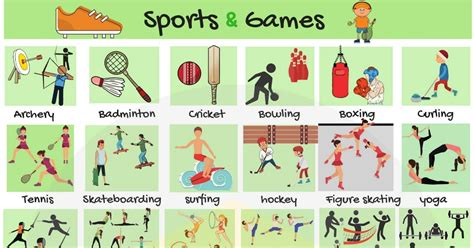 learn english vocabulary  sports  games eslbuzz