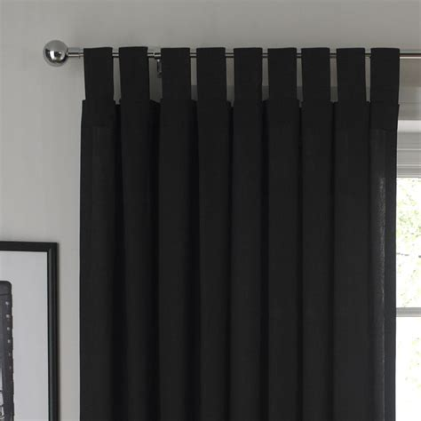 cashback b and q tab top unlined curtains black