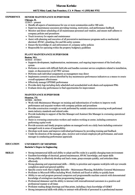 Maintenance Supervisor Cv Resume by Maintenance Supervisor Resume Sles Velvet