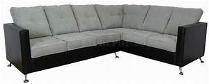 Light grey fabric black vinyl modern sectional sofa for Modern light grey fabric sectional sofa