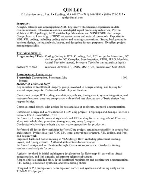 Asic Design Engineer Resume by Asic Engineer Free Resumes