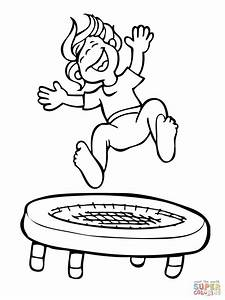 Kid Jumping on the Trampoline coloring page | Free ...