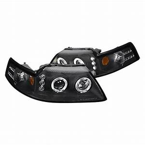 Spec-D® - Ford Mustang 2000 Black Halo Projector Headlights with Parking LEDs