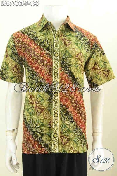 jual ukuran baju batik pria s hem batik lelaki muda lengan pendek modis motif bagus proses cap