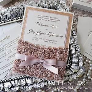 Alanna rosette lace wedding invitation lace pocket for Rose gold and champagne wedding invitations