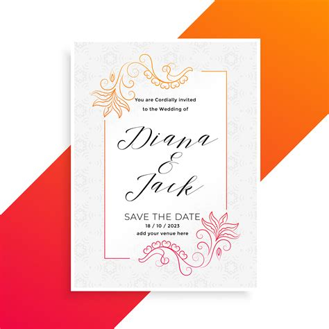 lovely floral wedding invitation card design template