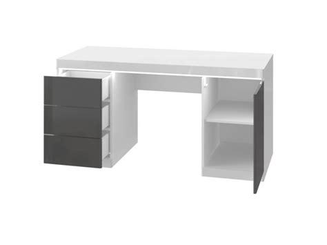 bureau gris laqu bureau loic ii leds 1 porte 3 tiroirs blanc gris