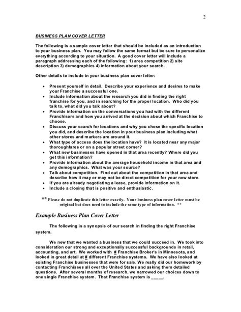 Cover Letter For Business Plan by Sle Business Plan And Cover Letter