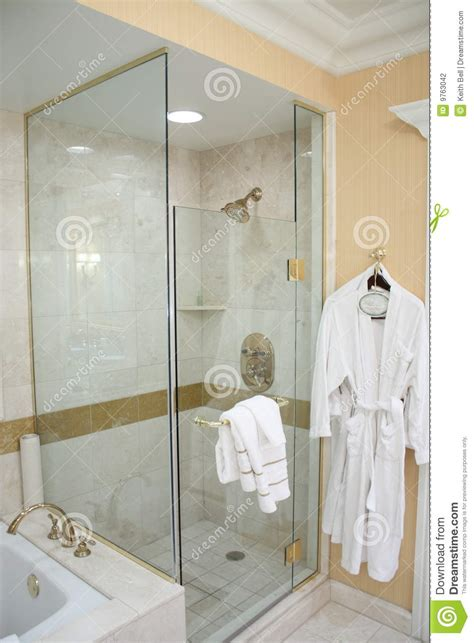 towel designs for the bathroom luxury hotel shower and robe stock photography image