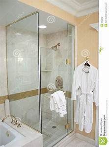 Luxury Hotel Shower And Robe Stock Photo - Image of room ...