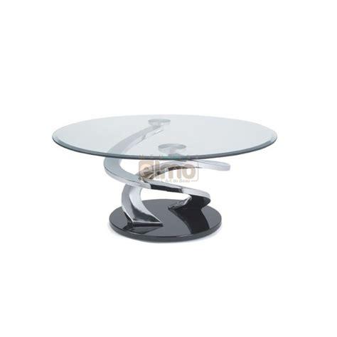 But Canapé Bz - table basse design ronde verre et acier pied sculpté tornade