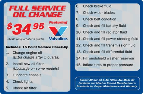 Valvoline Prices For Oil Change