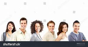 Happy Smiling People. Over White Background Stock Photo ...