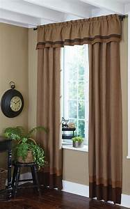 Shades of Brown Lined Border Curtain Valance