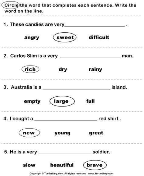 Complete The Sentence With Correct Adjective Worksheet  Turtle Diary