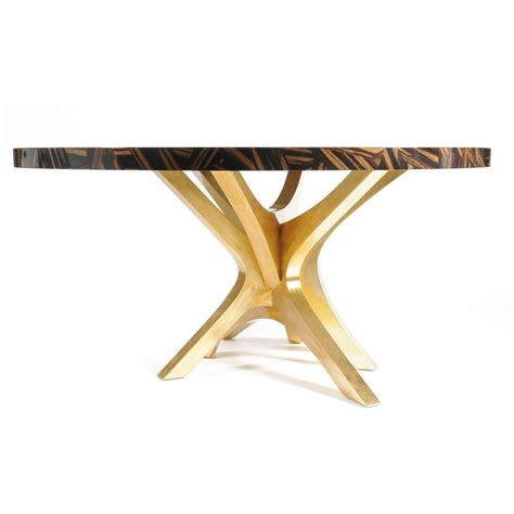 gold round dining table luxury mosaic veneer round dining table with gold leaf legs