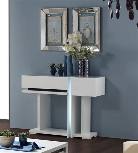 Ikea Ideas Kitchen - small contemporary modern white console table with storage on dark hardwood floor tiles for
